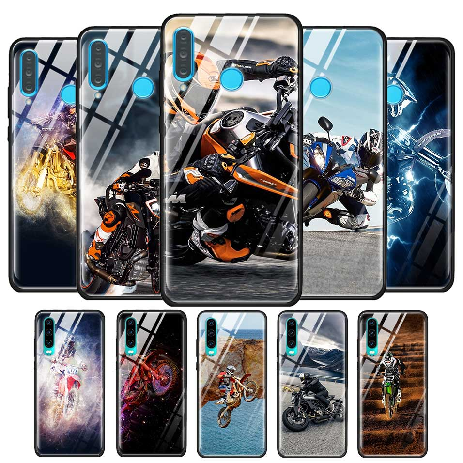 Cubierta de vidrio templado para Huawei P20 P30 Mate 10 20 30 Lite Pro amigo 20X5G P inteligente Pro 2019 caso Moto Cruz de la motocicleta