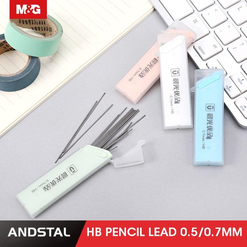 M & G 80 шт. карандашные втулки HB 0,5 мм 0,7 мм графитовый свинцовый механический карандаш заправка пластиковый автоматический заменяемый карандаш свинцовый