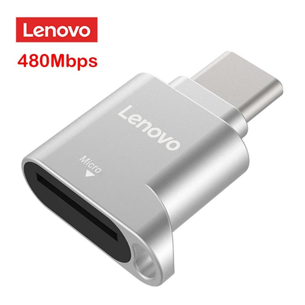 Lenovo D201 USB C lector de tarjetas TF 480Mbps tipo C a TF Mini lector de tarjeta de memoria Micro SD adaptador de OTG para Windows XP / 7/8/MAC OS