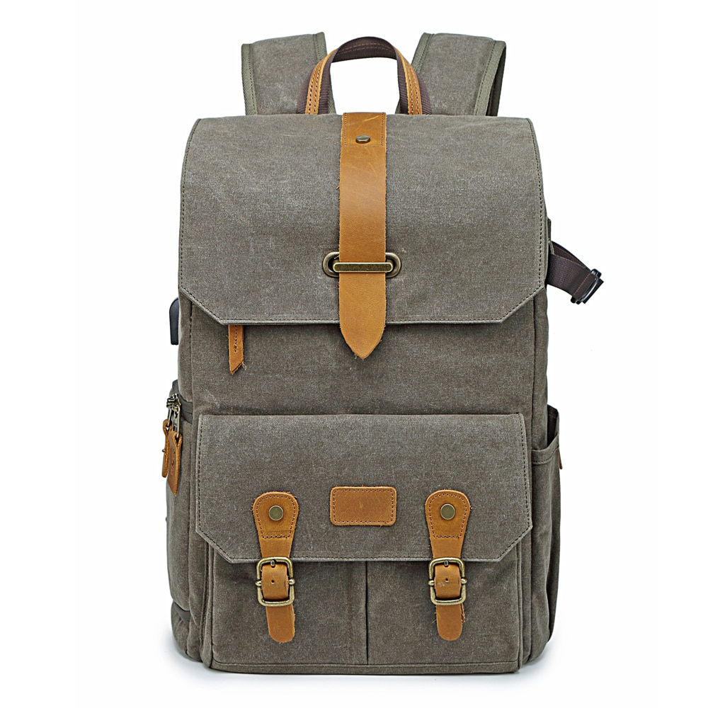 حقيبة ظهر لكاميرا كانون/نيكون/سوني ، حقيبة ظهر مبطنة بنمط الباتيك والجلد عتيق ، حقيبة سفر واسعة ، DSLR ، لكانون/نيكون/سوني