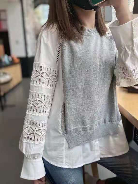 High Quality Sweaters & Pullovers 2021 Autumn Winter Knitwear Women Hollow Out Embroidery Knitting Patchwork Grey Blue Jumpers enlarge
