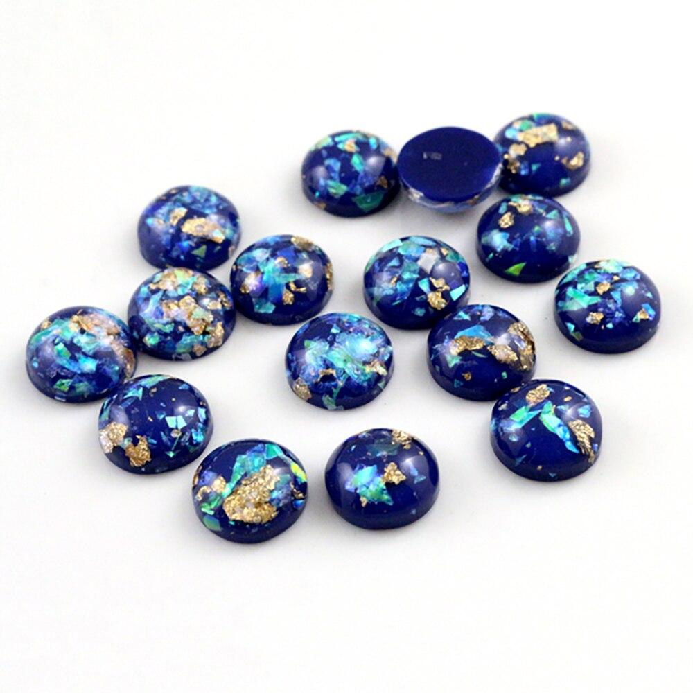 Nieuwe Mode 40 Pcs 8 Mm 10 Mm 12 Mm Donkerblauw Kleuren Ingebouwde Metalen Folie Flat Terug hars Cabochons Cameo