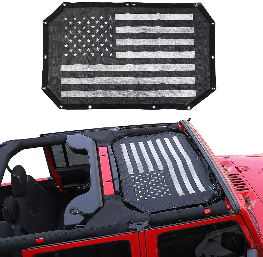 1 PCS Mesh Sunshade for 2007-2018 Jeep Wrangler JK   2-Door and 4-Door  Durable Polyester Black Mesh Shade Top Sunshade Cover