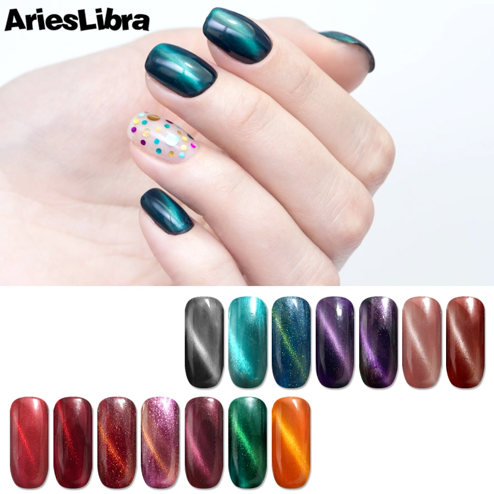 AriesLibra 10ml 3D Cat Eye Chameleon Laser LED UV Gel Nail Polish Top Base Coat Nail Gel Polish UV Gel Lacquer Varnish Nail Art