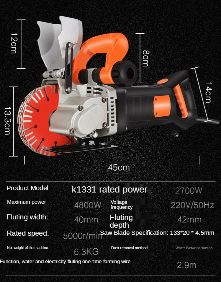 Electric Wall Slotting Machine Electric Wall Chaser Groove Cutting MachineSteel Concrete Cutting Machine 220V enlarge
