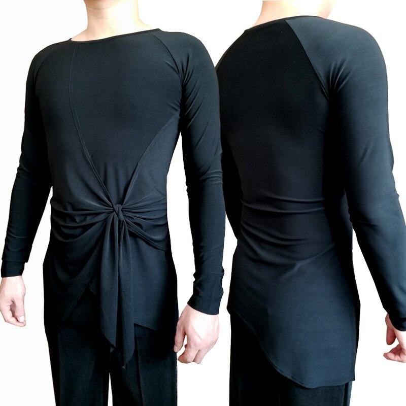 Latin Dance Top Men Long Sleeve Practice Shirts Male Cha Cha Rumba Samba Tango Salsa Adult Dancing Performance Wear DNV12078