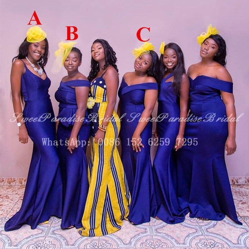فستان إشبينة العروس على طراز حورية البحر الأفريقي النيجيري للنساء ، طويل ، أزرق ملكي ، مخصص ، لحفلات الزفاف ، مجموعة 2020
