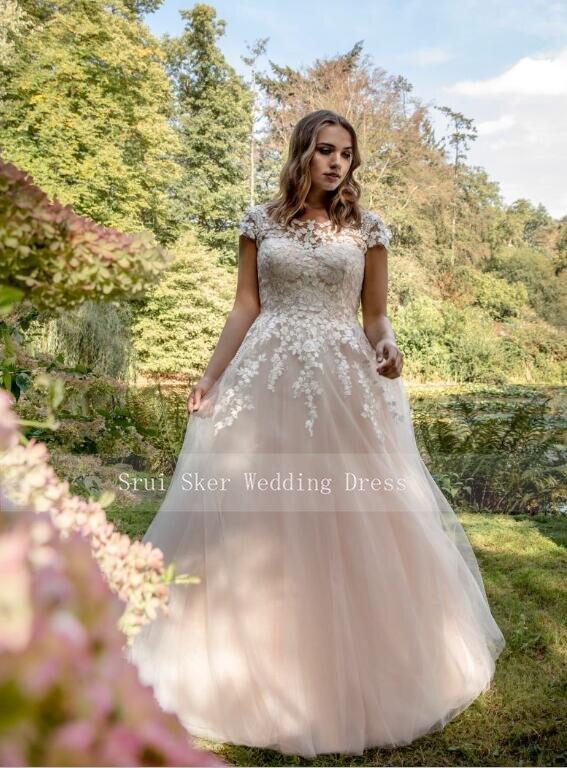 أنيقة الشمبانيا فستان الزفاف ألف خط الأجهزة حجم كبير زي العرائس مخصص Vestidos دي Noiva