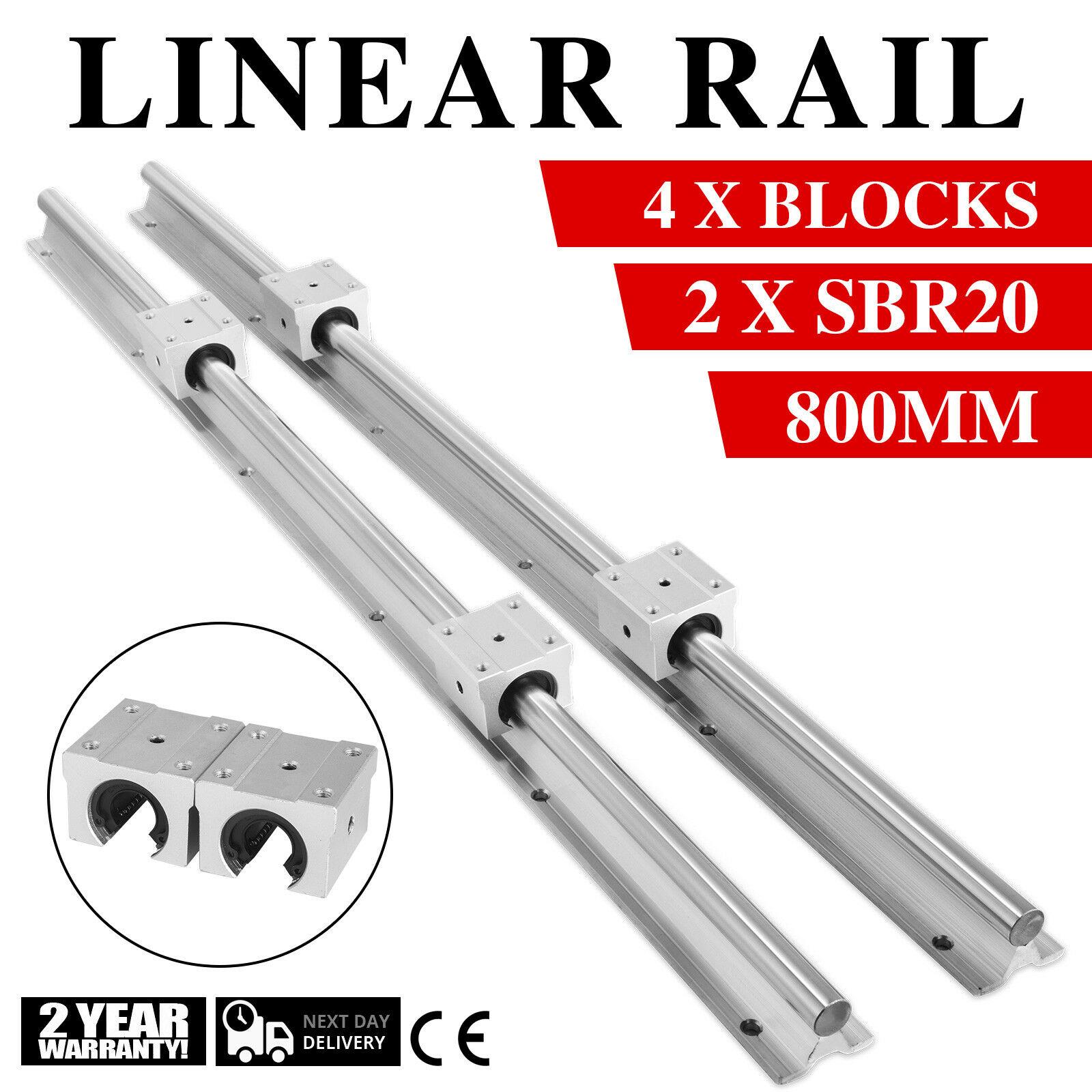 2X SBR20 مدعوم بالكامل السكك الحديدية الخطية + 4X SBR20UU 20 مللي متر الشريحة كتلة تحمل [800 مللي متر (31.5 في) 2 القضبان 4 كتل]