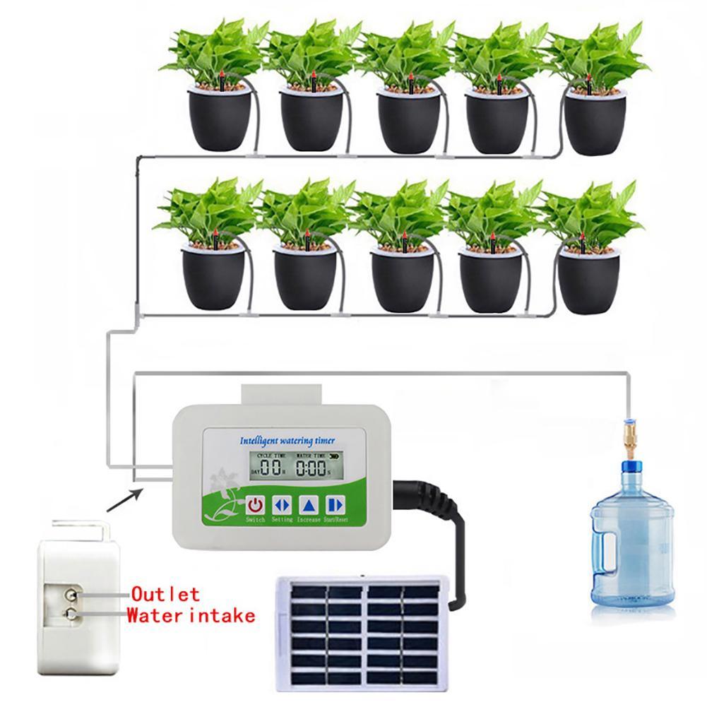 جهاز شحن بالطاقة الشمسية الأوتوماتيكي ، مؤقت سقي الحديقة الخارجية ، فوهة ري النباتات المنزلية ، جهاز تحكم ذكي