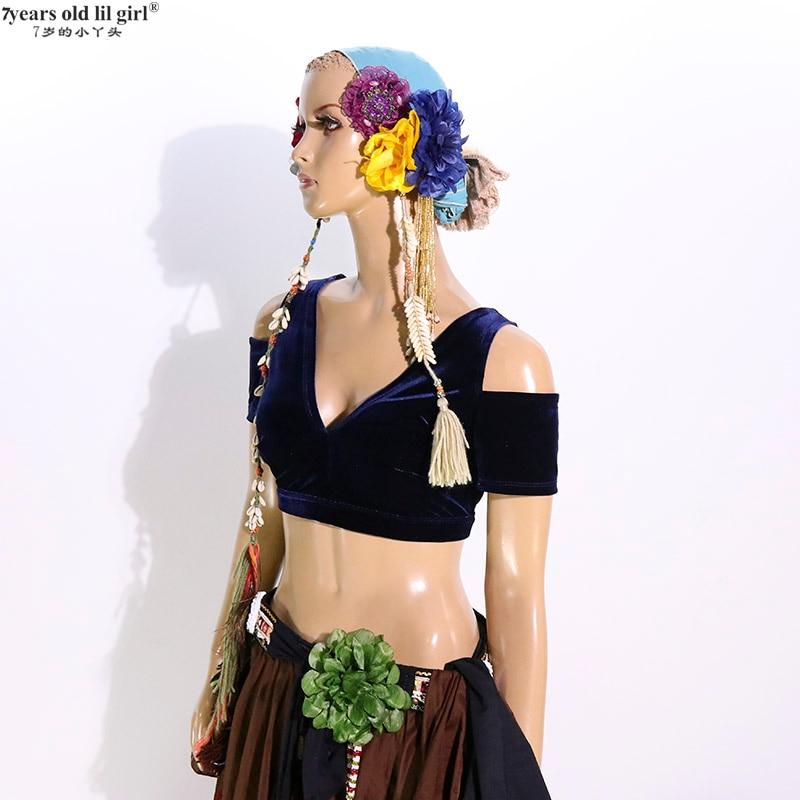 Belly Dance velvet Top Fat Chance Tribal Choli Belly Dance Costume  Drop Sleeve Top CJJ50