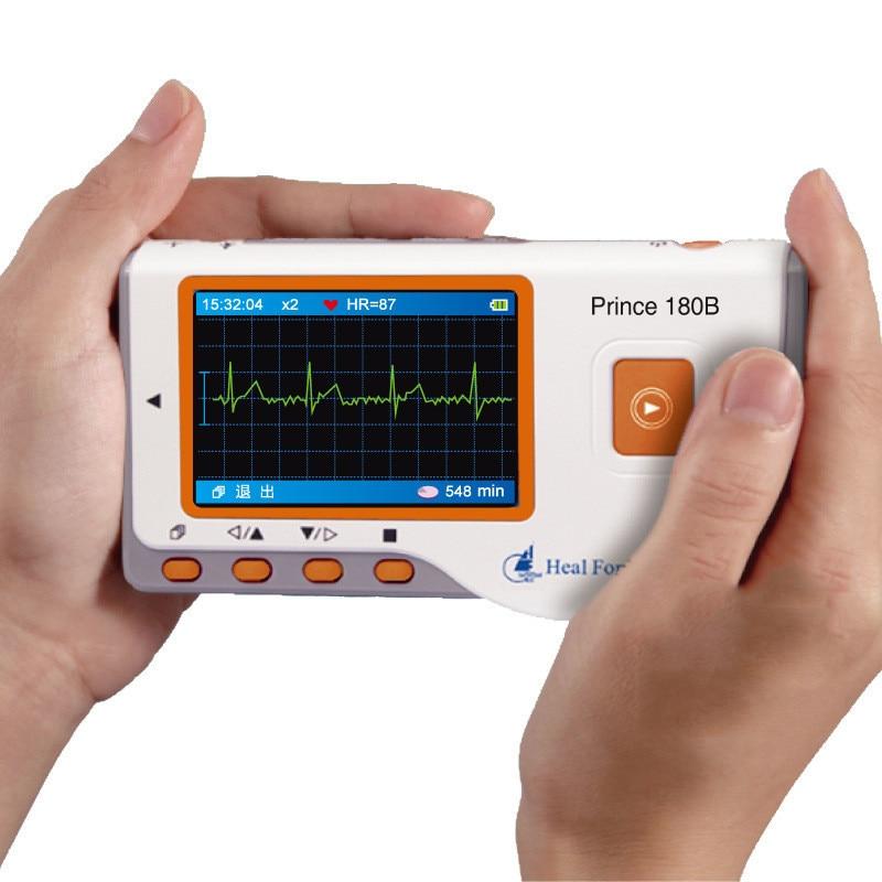 جهاز مراقبة القلب المحمول ، جهاز مراقبة القلب ، Ecg ، EKG ، شفاء Force Prince 180B ، USB ، قياس مستمر ، شاشة ملونة