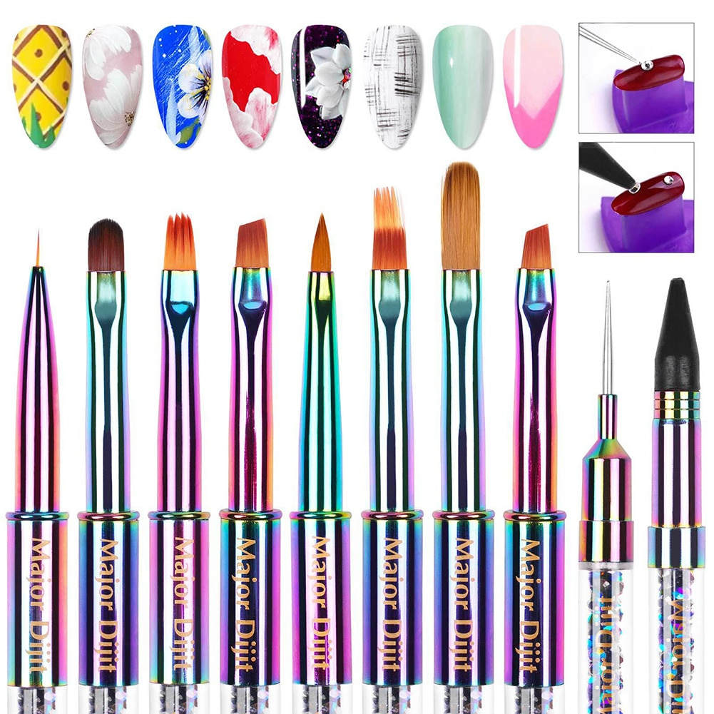 Nail Art Gel Carving Pen Acrylic Nail Brush Pen with Smooth Shiny Handle Dotting Pen for Carving Pai