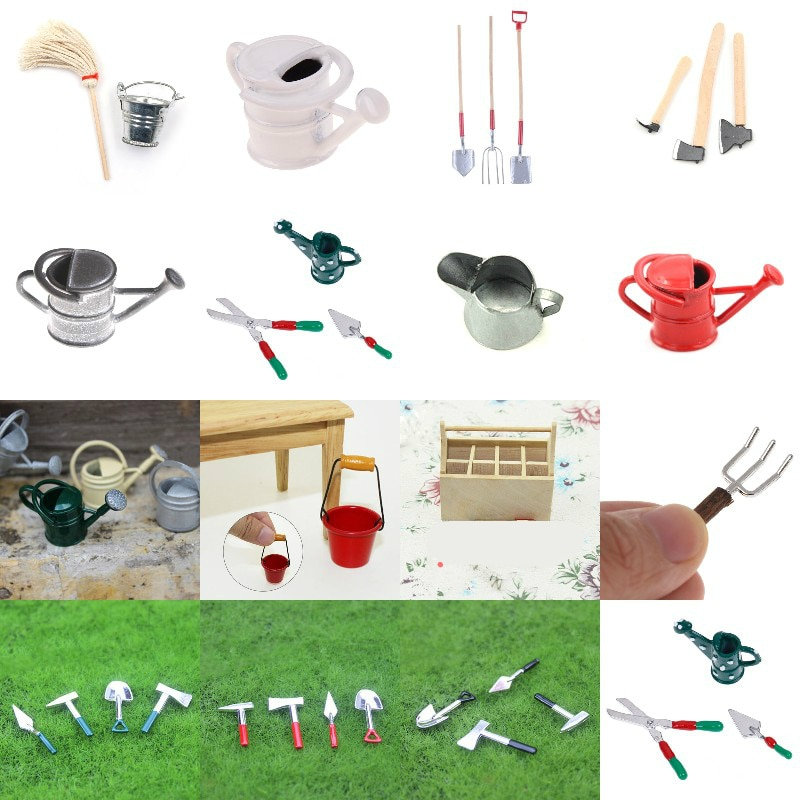 AliExpress - 18 Styles Garden Tools Tin Watering Can For 1/12 Scale Dollhouse Miniatures Garden Scenery  Kids Furniture Toys DIY Accessories