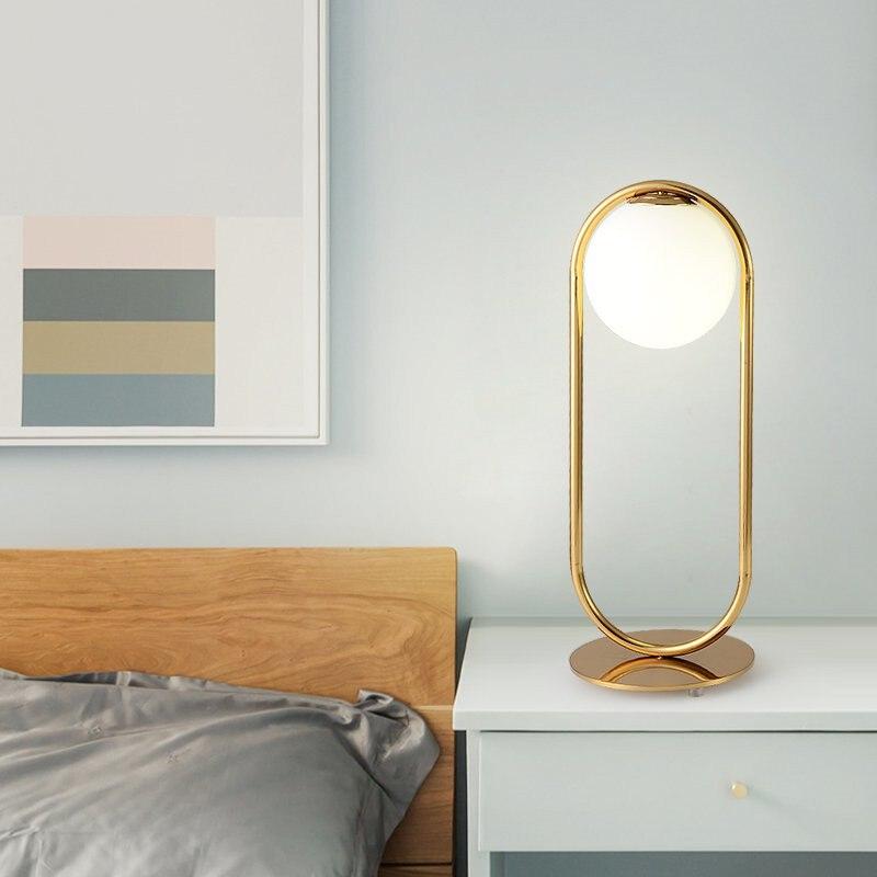 Nordic moderno e minimalista candeeiros de mesa bola vidro luz da mesa para o quarto sala estar café foyer piso cabeceira lâmpada leitura