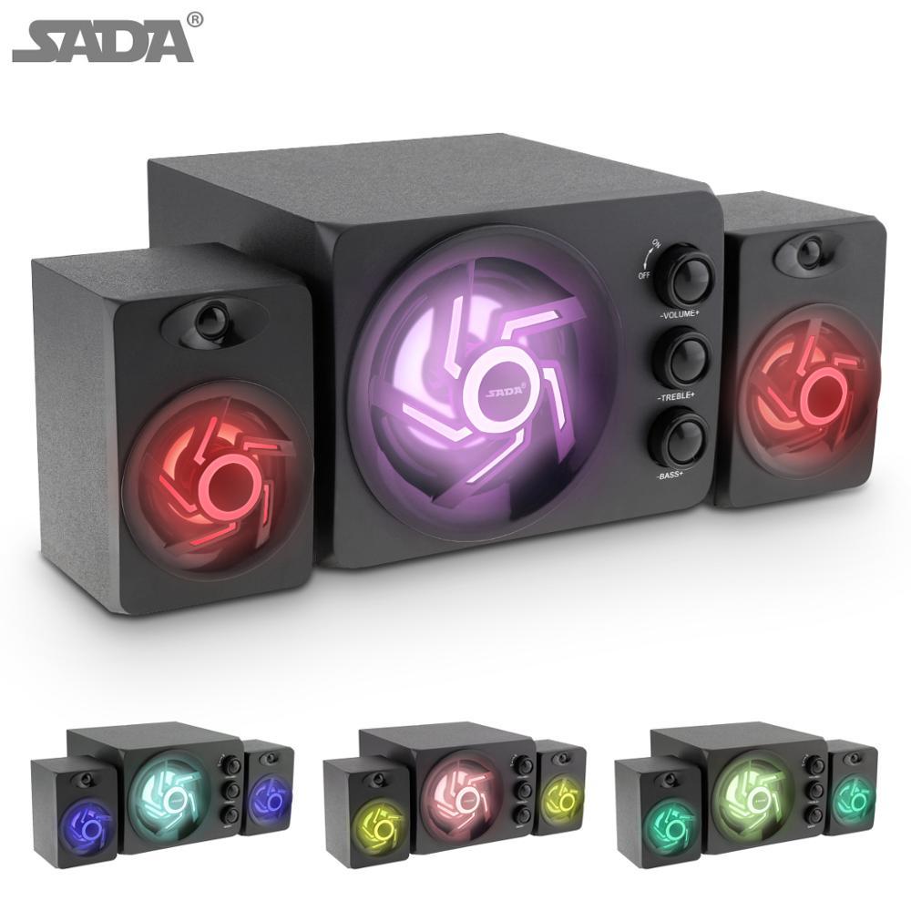 Altavoces para ordenador de sobremesa de madera/ABS de SADA, D-209, estéreo, Bluetooth, Subwoofer de luz en siete colores, Mini altavoz USB para PC