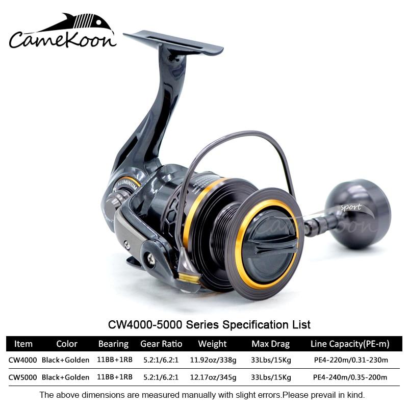 CAMEKOON 2000-5000 Spinning Wheel 5.2:1/6.2:1 Gear Ratio Jigging Reel Full Metal 15kg Drag Power for Saltwater Big Game Fishing enlarge