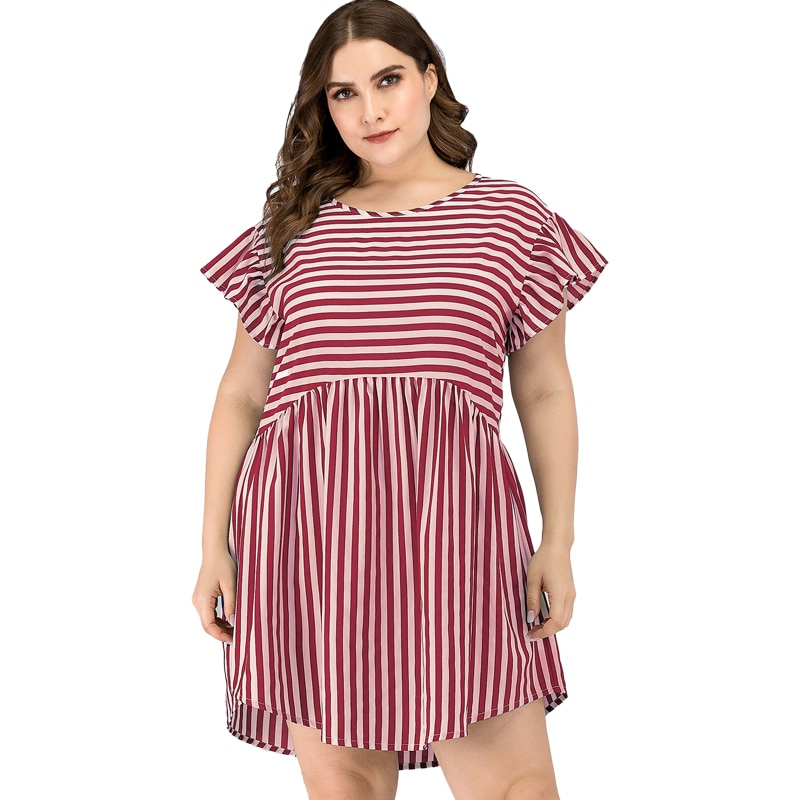 Plus Size Summer Casual Short Dress Women Sexy Flare Sleeve Striped Patchwork Dress Ladies Beach Holiday Sundress Daily Vestidos sexy beach summer dresses women 2019 solid chiffon a line short holiday dress backless bowknot ladies beach cover up plus size