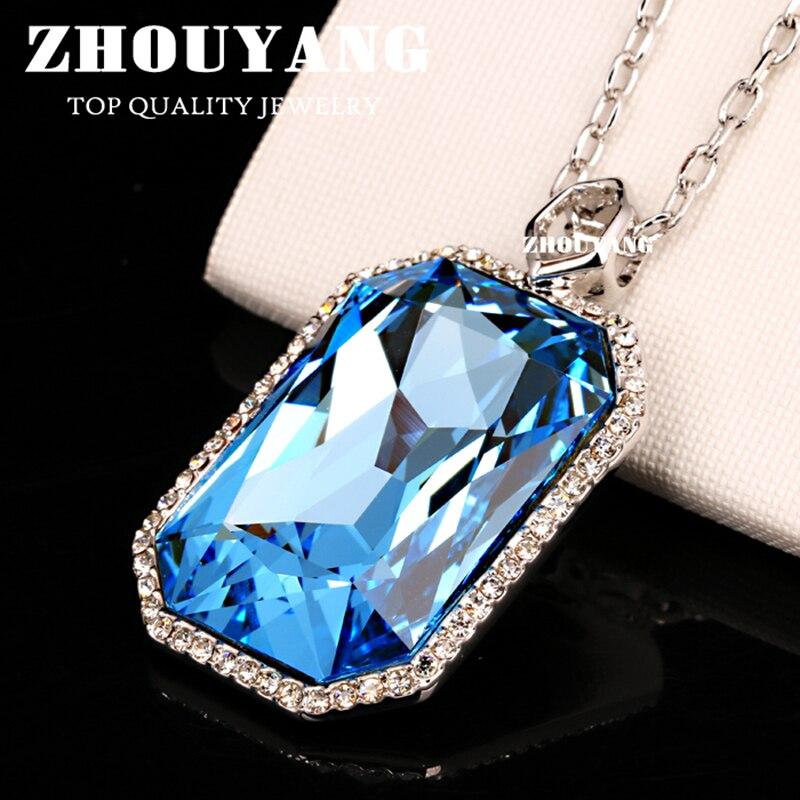 Zhouyang nobre estilo de moda grande pingente colar para mulher luz azul crytal prata cor jóias cristal austríaco presente n501