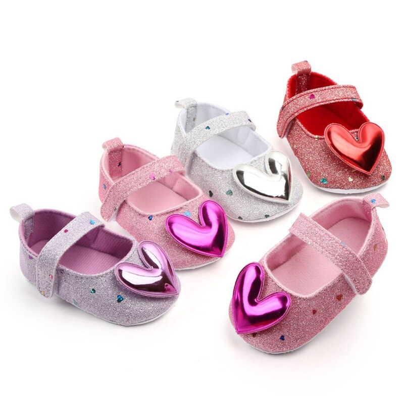 Baby Shoes Cute Sequin Heart Baby Girl Shoes Princess Newborn Soft Bottom Non-slip Shoes Toddler Inf