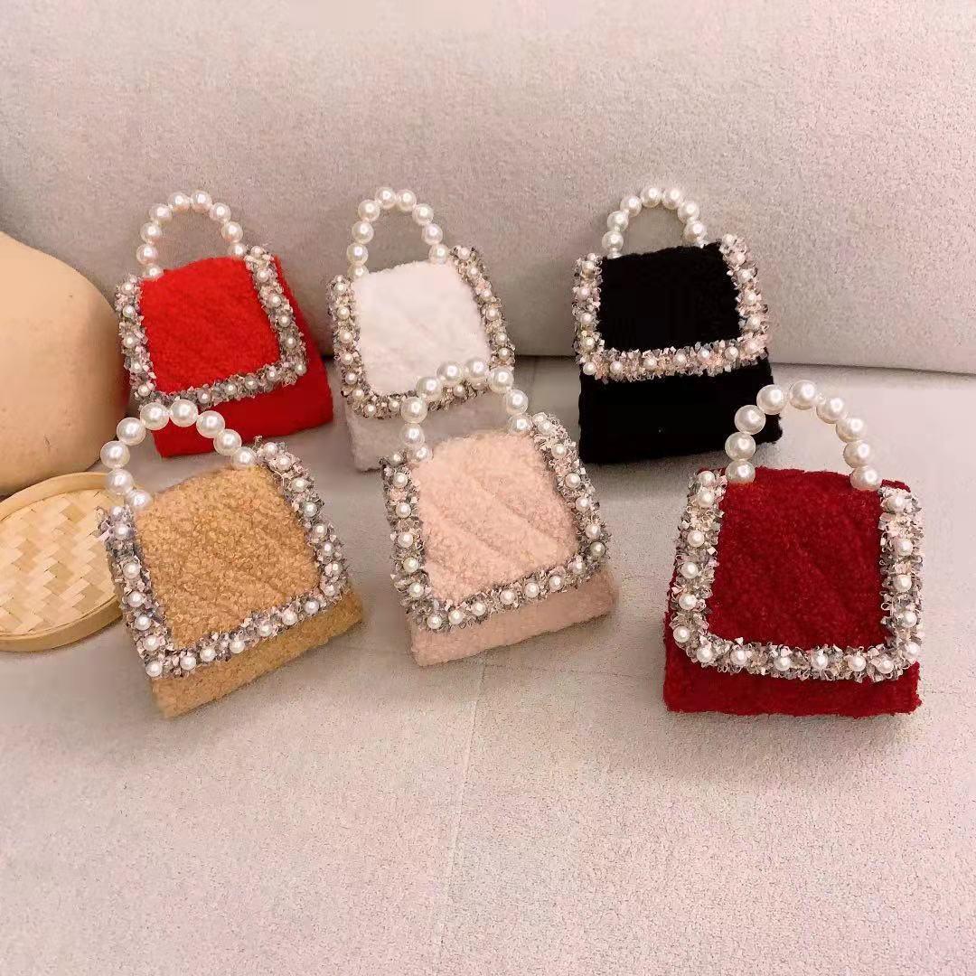 Coréen Kid Mini sac à main fourre-tout automne hiver mignon perle sacs à bandoulière pour les filles princesse fête sacs à main cadeau