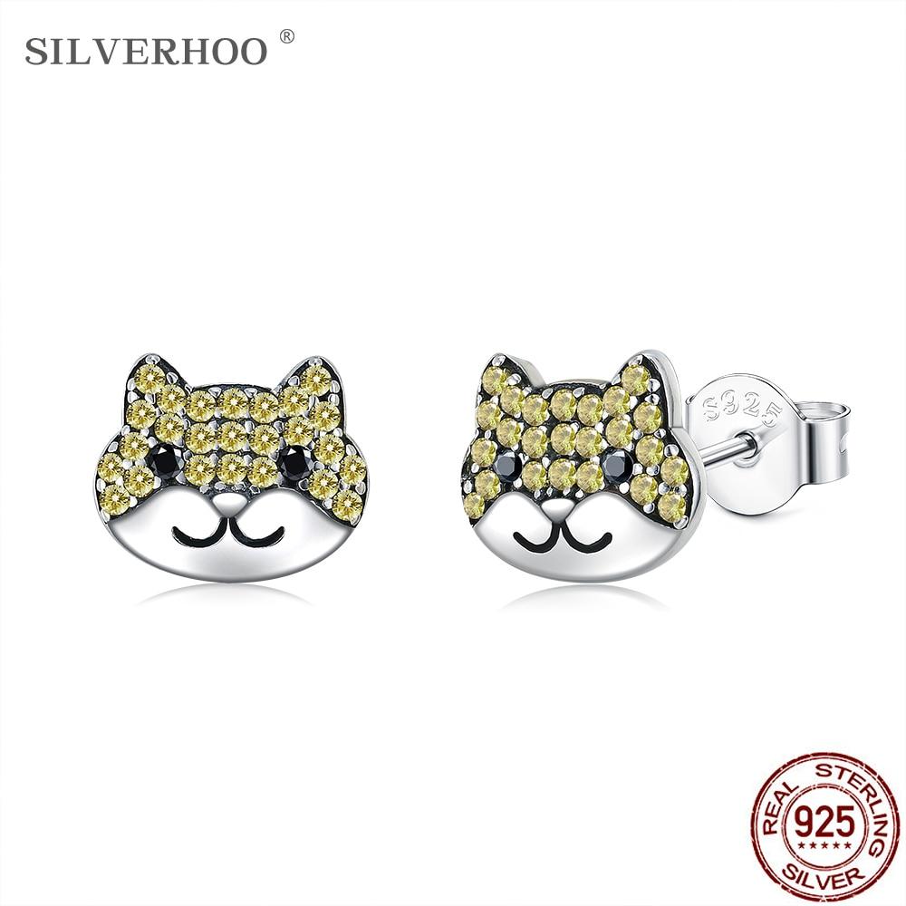 SILVERHOO 925 Sterling Silver Cute Dog Animal Earrings For Women & Girl Dazzling Yellow Cubic Zircon Stud Earring Silver Jewely