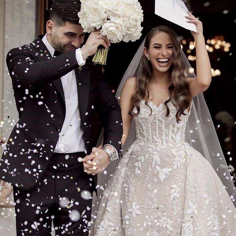 Review Luxury Mermaid Wedding Dresses Sleeveless Tube Top Detachable Train 2 In 1 Lace Decal Sweetheart Wedding Goens Tailor-made