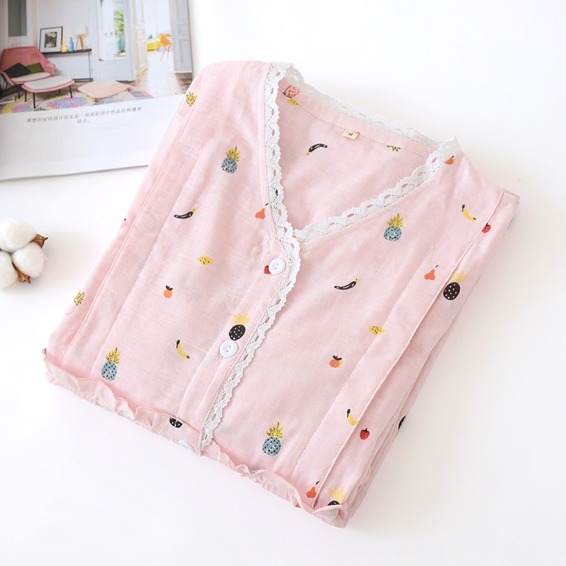 Fdfklak Pink Print Maternity Night Pajamas For Pregnant Nightwear Spring Autumn Long Sleeve Cotton Pajamas Nursing Sleepwear enlarge