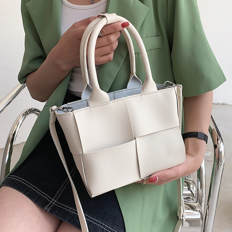White Weave Shoulder Bags for Women Soft Leather Top-handle Bags Ladies Knitted Bucket Messenger Bag Simple Purses and Handbags