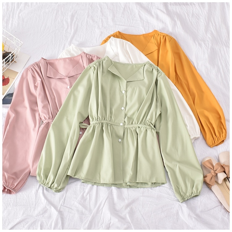 Blusas femininas de verao 2020 blusas femininas primavera outono espanha estilo chique retro manga comprida impresso camisa topos