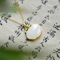 natural hetian jade xiangyun ruyi pendant s925 sterling silver jade necklace vintage silver jewelry gilding craft pendant