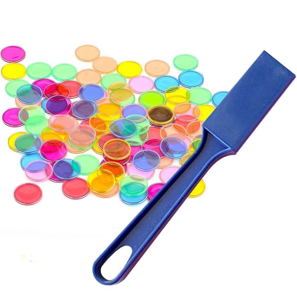 Montessori Toys Kit 1pcs Magnetic Stick Wand + 100pcs Transparent Round Metal-Ring Bingo Chip for Kids Classroom Learning Toys
