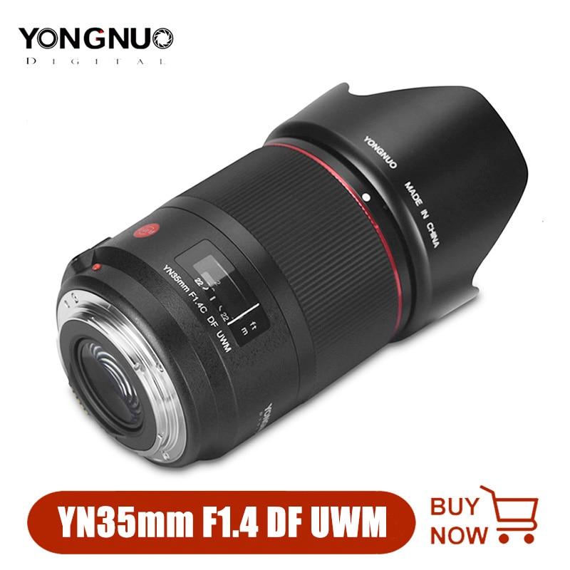 YONGNUO YN35mm 35 مللي متر F1.4 DF UWM عدسة السيارات التركيز الثابتة عدسات لكاميرات كانون 6D 5D مارك الرابع 70D 200D 6D مارك الثاني T6 1300D 200D 70D 7D G7X