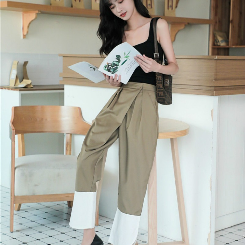 Loose High Waist Chic Ninth Pants Women 2020Fashion Harajuku Simple Casual Solid Pants Girls Contrast Color Haren Pants Trousers