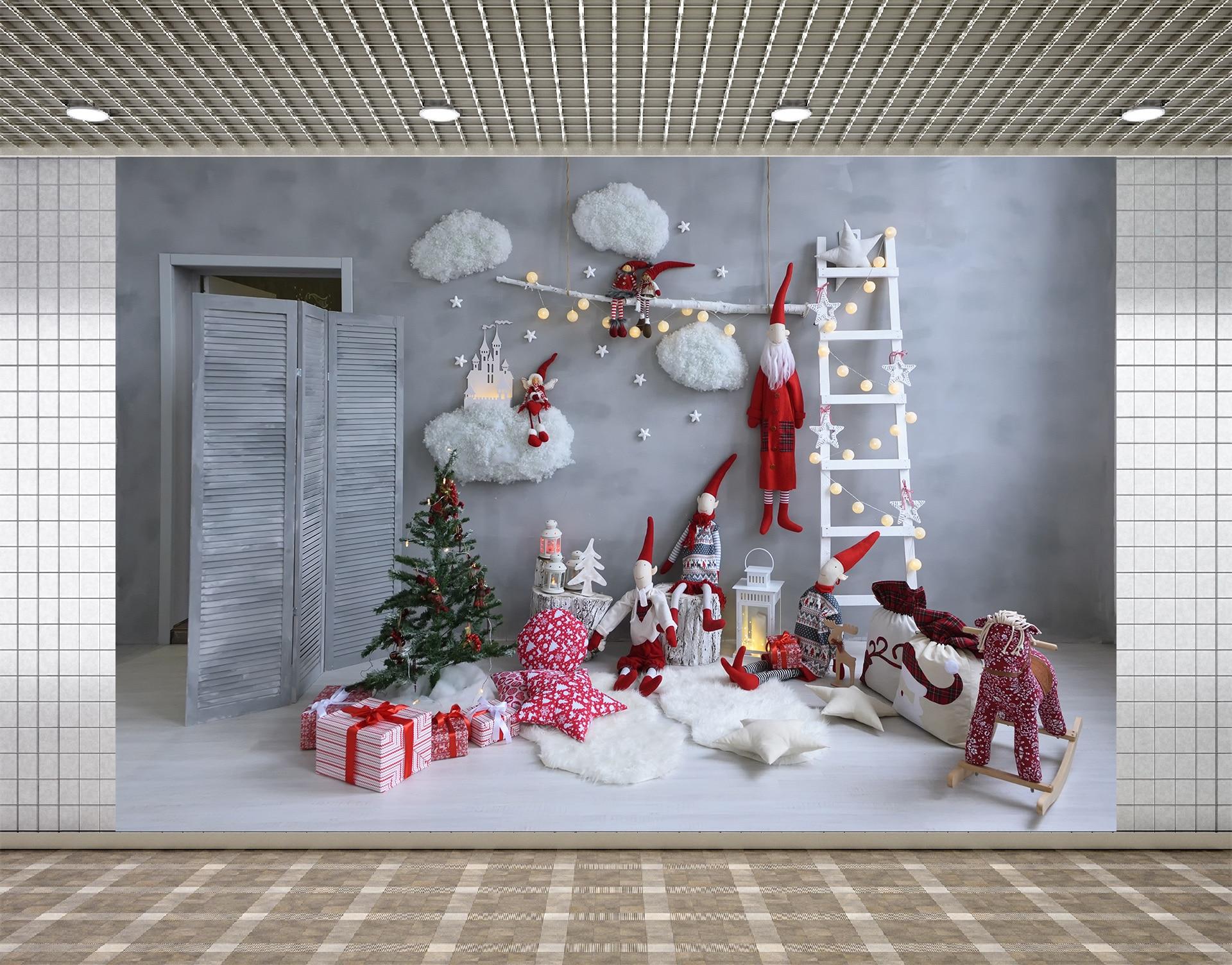 Pano de Fundo Aniversário do Bebê Fundo para Estúdio Lyavshi Natal Árvore Casa Boneca Brinquedo Bola Recém-nascido Festa Photocall Fotografia Foto