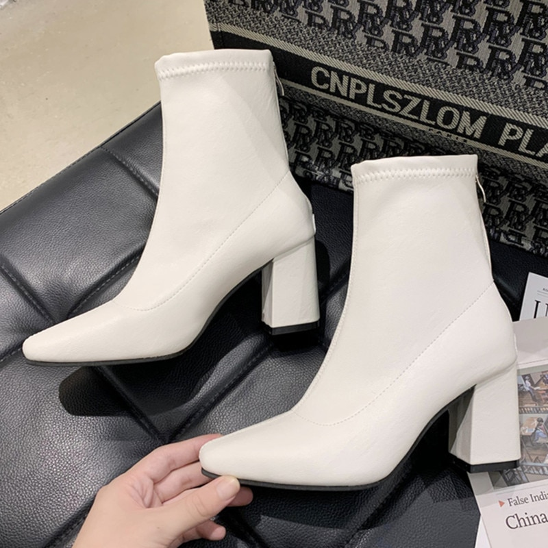 Women Boots Fashion Elegant High Heels Shoes Woman 2021 Autumn Winter New Warm Booties Ankle Boots C