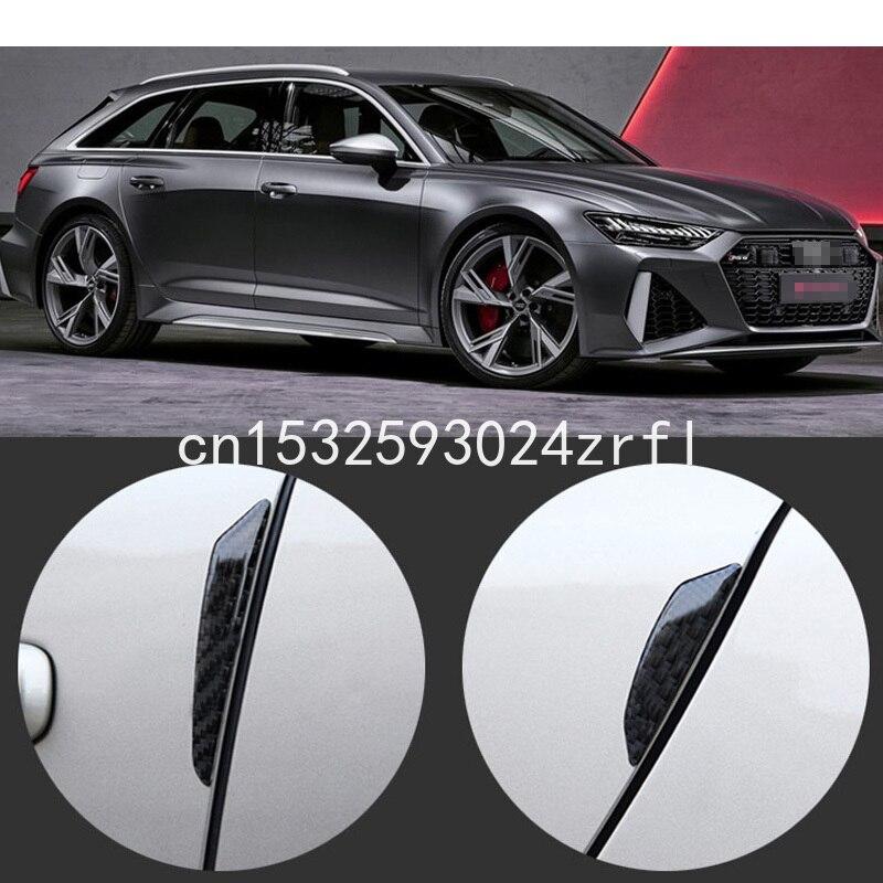 Para Audi RS3 RS4 RS5 RS6 RS7 Protector de parachoques de Borde de puerta lateral de coche 4 Uds pegatinas de fibra de carbono de PVC