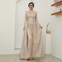 a line high collar long sleeves floor length red formal gown for evening wear silver cotton appliques sparklelly night dresses