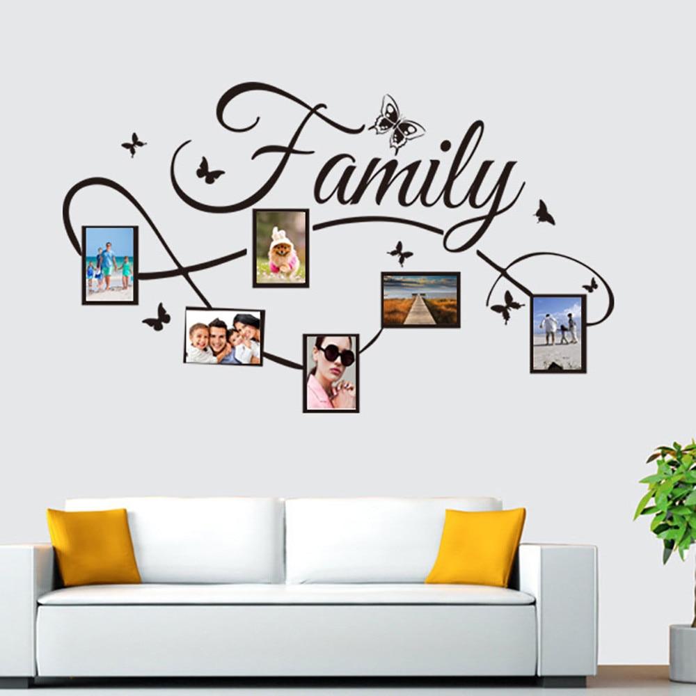 Pegatinas foto familiar etiqueta de la pared del marco Mural arte decoración del hogar pegatinas de pared