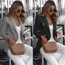 Lady Slim Coat 5XL Big Size Autumn Button Blazer Work Jacket Office Women Winter 2019 New Slim Long Sleeve Turn-Down Collar Coat