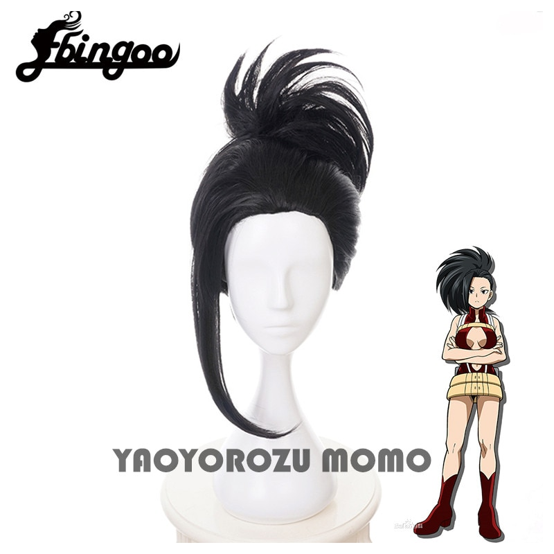 【Ebingoo】My Hero Academia YAOYOROZU MOMO Black Wig With Chignon Cosplay Costume Boku no Hero Academia Heat Resistant Hair Wigs