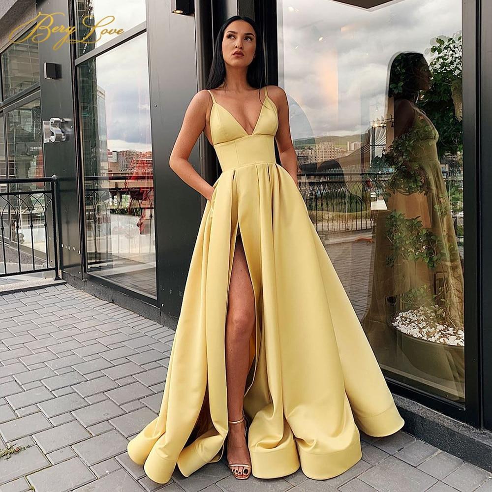 V Neck Satin Evening Dresses Spaghetti Strap Side Slit Prom Dress High Waist Evening Gowns Party Dress Robe de soiree