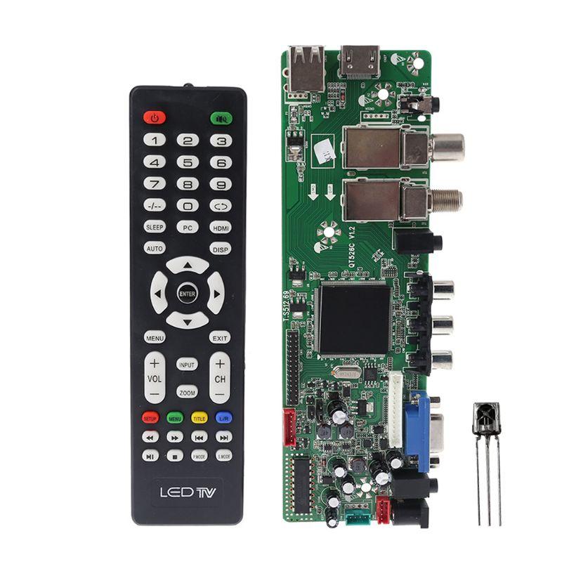 DVB-S2 DVB-T2 DVB-C señal Digital ATV de controlador LCD Control remoto de lanzador Universal Dual USB QT526C V1.1 T S512.69