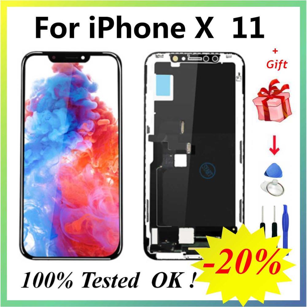 OLED X LCD Pantalla OLED Incell LCD شاشة عرض لهاتف iPhone X XS, شاشة OLED LCD تعمل باللمس مع مجموعة المحولات الرقمية لهاتف iPhone X 11 XSMax XR