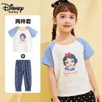 disney cartoon breathable childrens short sleeved mosquito pants suit 2021 summer girls pure cotton t shirt trousers