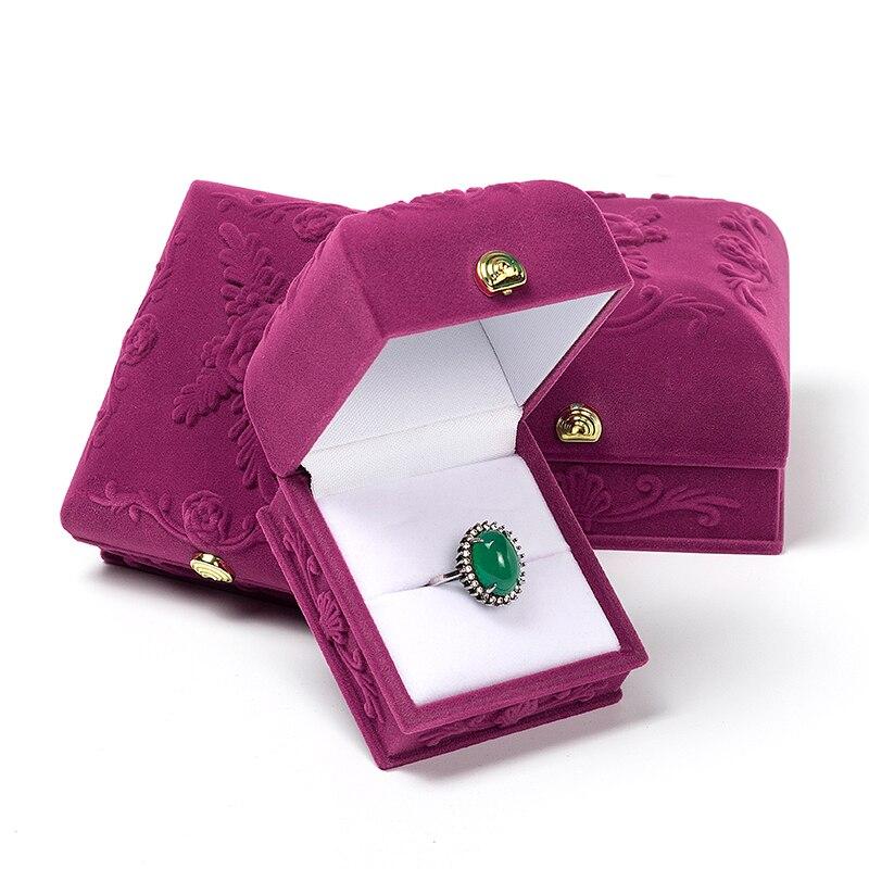 Bump Rose Print Velvet Wedding Ring Jewelry Storage Display Packaging Box For Women Anniversary Birthday Gift Showcase Portable