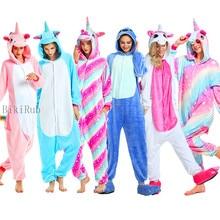 Bikirub Volwassenen Pyjama Vrouwen Flanel Nachtkleding Unisex Kigurumi Leuke Eenhoorn Stitch Cartoon Animal Pajama Set Kids Hooded Pyjama