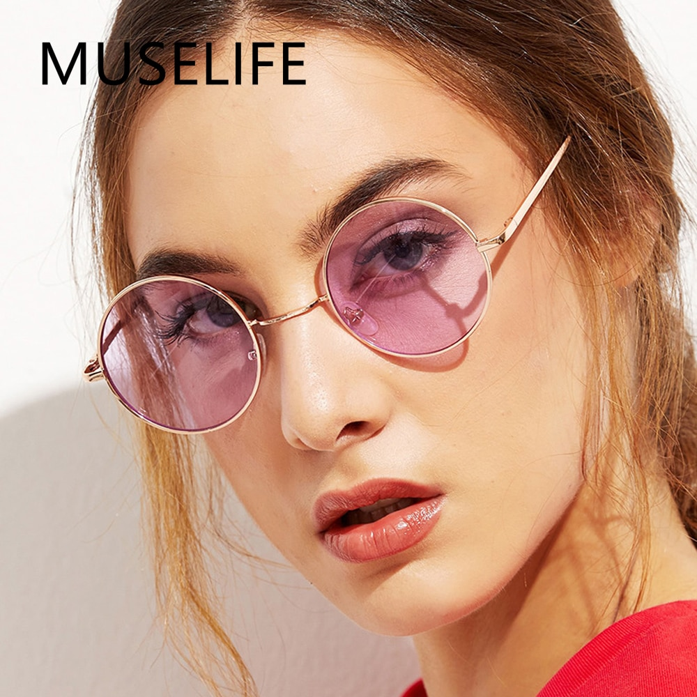 MUSELIFE 2022 Round Women Sunglasses Men Glasses Lady Luxury Retro Metal Sun Glasses Vintage Mirror