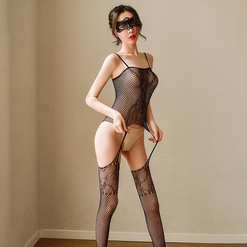 Сексуальные сетчатые чулки эротическое нижнее белье с открытой промежностью