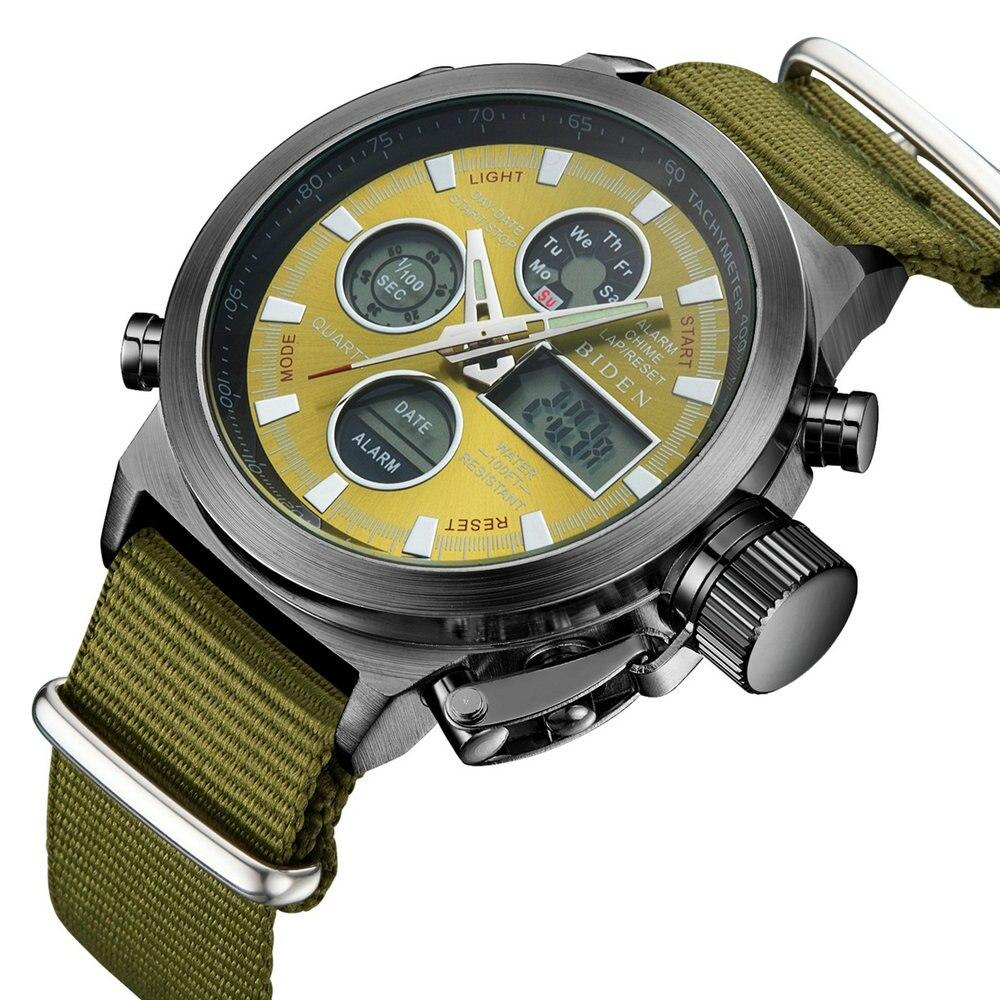 Relojes de vestir a la moda para hombres reloj de pulsera analógico de lujo de cuarzo Digital resistente al agua correa de nailon reloj deportivo militar reloj de pulsera con pantalla Dual